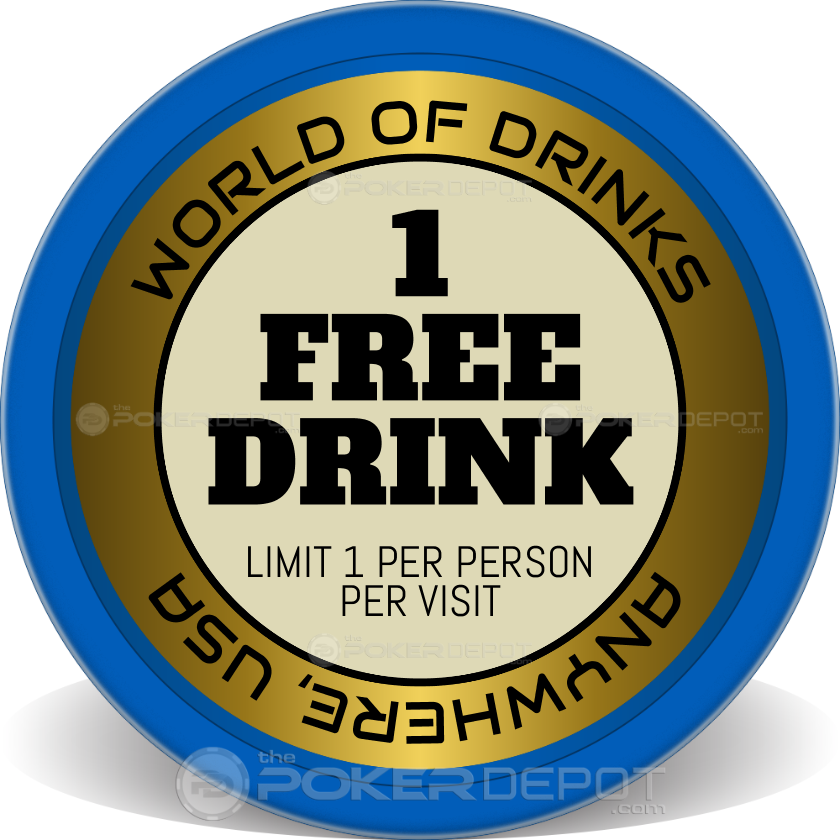 1 Free Drink Poker Chips - Main