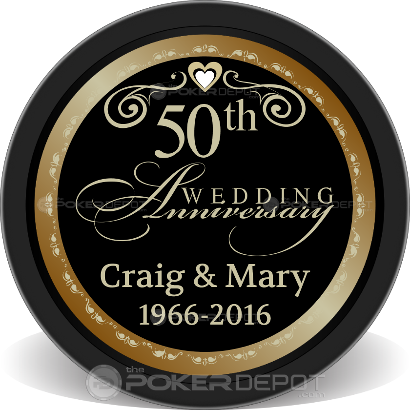 50th Wedding Anniversary Chips - Front