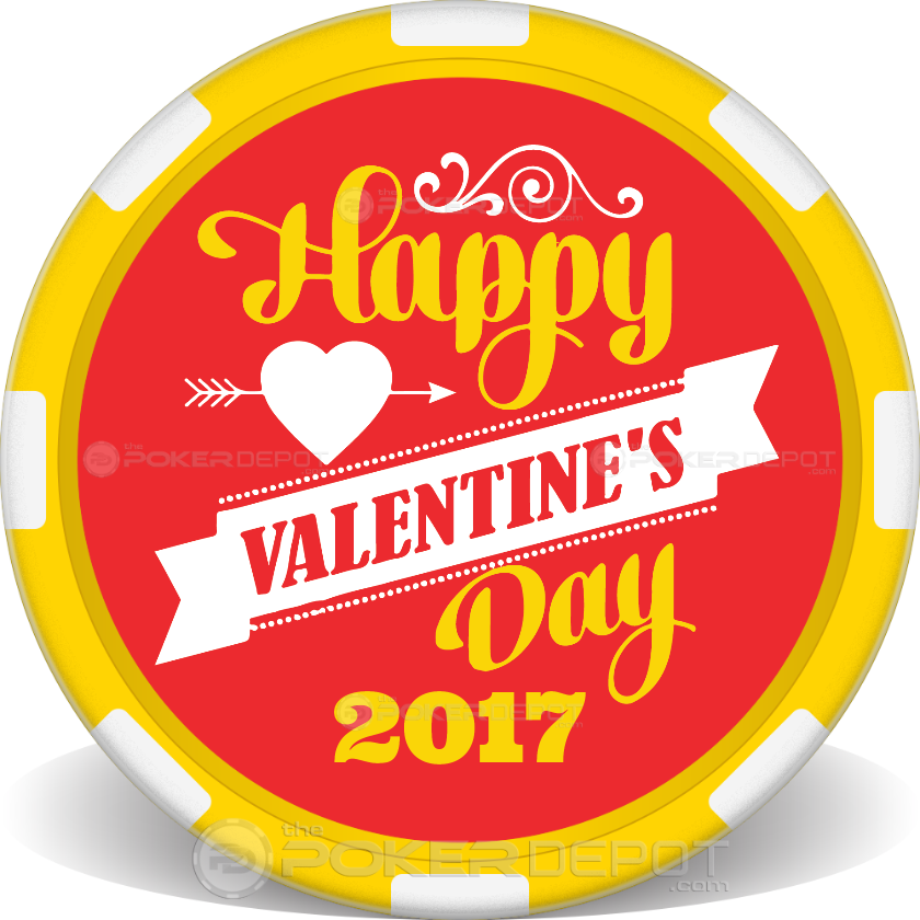 Happy Valentines Day Poker Chips - Front