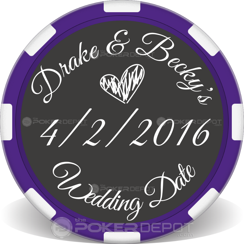 Save The Date 01 Poker Chips - Back