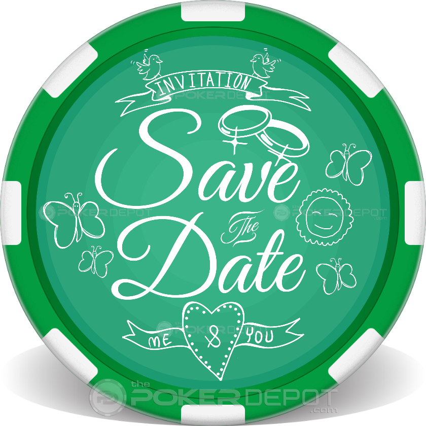 Save The Date 03 Poker Chip - Back