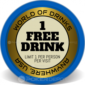 1 Free Drink Poker Chips Front