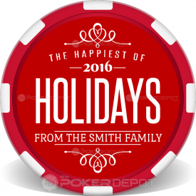 Happiest of Holidays Poker Chips Front