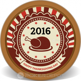 Happy Thanksgiving Poker Chips Front