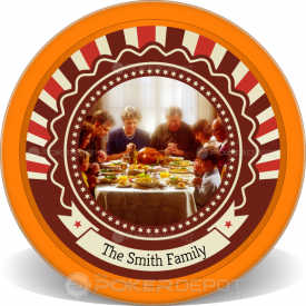 Happy Thanksgiving Poker Chip Front