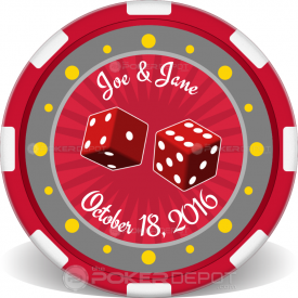 Custom Vegas Wedding Chip Front