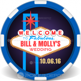 Vegas Sign Wedding Poker Chips Front