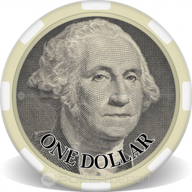 $1 Bill Poker Chip Front