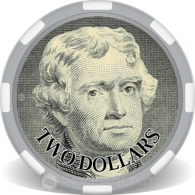 $2 Bill Poker Chip Front