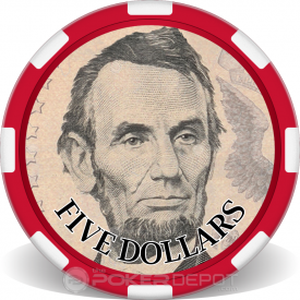$5 Bill Poker Chip Front