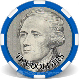 $10 Bill Poker Chip Front