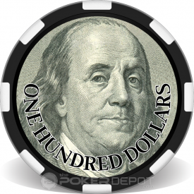 $100 Bill Poker Chip Front