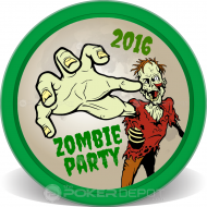 Zombie Party Poker Chip Front