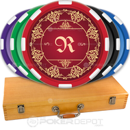 Elegant Monogram Poker Chip Set Front